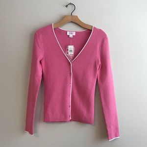 Loft pink button up cardigan white trim